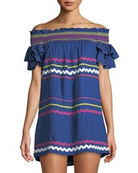 Red Carter Off The Shoulder Ric Rac Mini Dress Blue