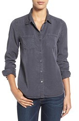 Caslonr Petite Women's Caslon Long Sleeve Denim Shirt Grey Ebony