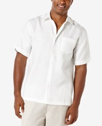 Cubavera Men's Carmine Linen Short Sleeve Shirt Bright White