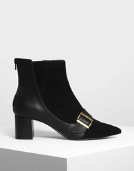 Charles And Keith Buckle Detail Ankle Boots Black