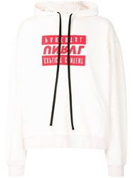 Unravel Project Slogan Print Oversized Hoodie White