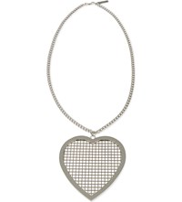 Givenchy Mesh Heart Necklace Silver