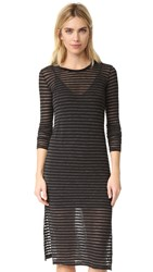Stateside Stripe Long Sleeve Dress Black