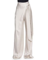 Maiyet Wide Leg Wrapped Satin Pants Beige