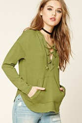 Forever 21 Lace Up Front Hoodie