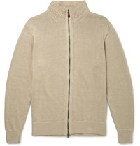 Inis Meain Washed Knitted Linen Zip Up Sweater Sand