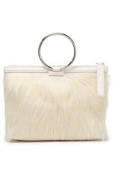 Kara Woman Textured Leather And Calf Hair Clutch Off White Off White