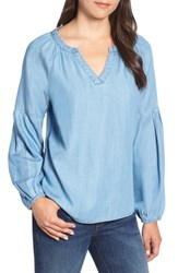 Billy T Chambray Peasant Top Blue