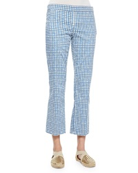 Tory Burch Cropped Flat Front Plaid Pants Blue White