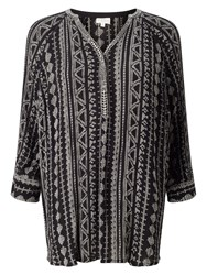 East Aztec Print Blouse Black