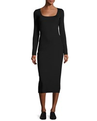 The Row Xenia Square Neck Midi Dress Black