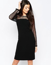 Ichi Bodycon Dress With Sheer Sleeves Black