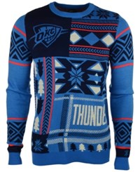 Forever Collectibles Men's Oklahoma City Thunder Patches Christmas Sweater Blue Orange