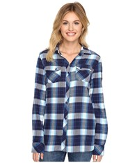 Volcom Crave You Long Sleeve Top Navy Women's Long Sleeve Button Up