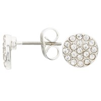 John Lewis Glass Crystal Pave Round Stud Earrings Silver