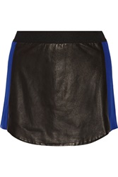 Mason By Michelle Mason Ponte Trimmed Leather Mini Skirt Black