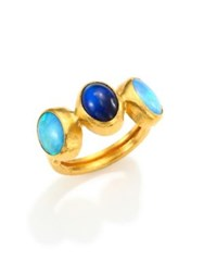 Gurhan Amulet Hue Opal Blue Moonstone And 24K Yellow Gold Ring Gold Blue