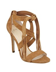 Marc Fisher Lauren Leather Tassel Dress Sandals Brown