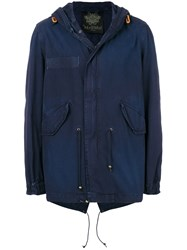 Mr And Mrs Italy Classic Midi Parka Coat Blue