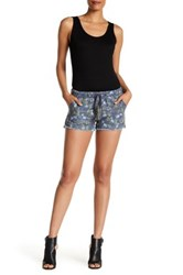 Jolt Frayed Floral Linen Blend Short Juniors Blue