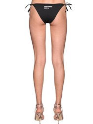 Dsquared Printed Lycra Triangle Bikini Bottoms Black