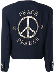 Moschino Vintage Peace Embroidered Jacket Blue