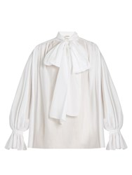 Vika Gazinskaya Tie Neck Cotton Poplin Blouse White