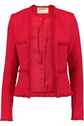 L'agence Jules Fringed Tweed Jacket Red