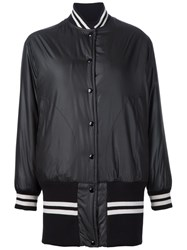 Maison Martin Margiela Mm6 Maison Margiela Striped Detailing Long Bomber Black