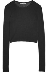 Alice Olivia Eamon Ribbed Jersey Sweater Black