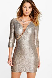Boohoo Elly All Over Sequin Bodycon Dress Silver