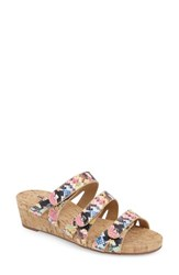 Vaneli Women's Karen Triple Strap Wedge Sandal Print Leather