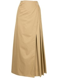 Des Pres Wrap Front Pleated Skirt Nude And Neutrals