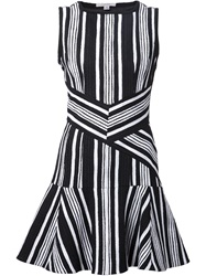 Carven 'Fancy' Striped Tweed Dress Black