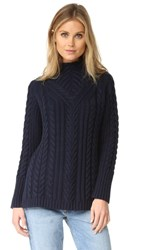 525 America Mock Neck Cable Sweater Classic Navy