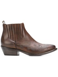 Etro Carved Ankle Boots Brown
