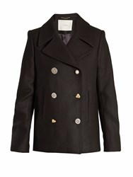 Adam By Adam Lippes Double Breasted Wool Blend Pea Coat Black