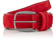 Barneys New York Men's Suede Belt Red