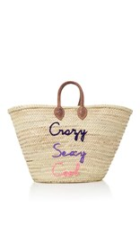 Poolside Shorty Embroidered Straw Tote Multi