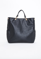 Missguided Quilted Pocket Chain Shopper Bag Black