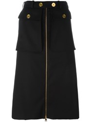 Alexander Mcqueen A Line Military Skirt Black