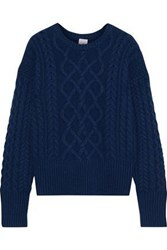 Iris And Ink Woman Iona Cable Knit Cashmere Sweater Navy