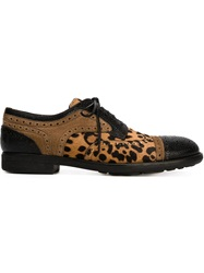 Dolce And Gabbana Leopard Print Brogues Nude And Neutrals