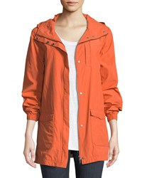 Eileen Fisher Washed Organic Cotton Blend Hooded Anorak Jacket Tiger
