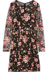 Mikael Aghal Floral Embroidered Tulle Dress Black