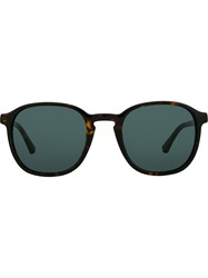 Linda Farrow Dries Van Noten D Frame Sunglasses Brown