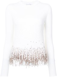 Oscar De La Renta Embroidered Fringed Sweater White