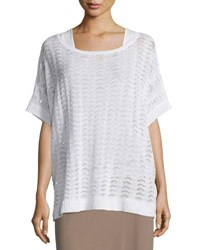 Joan Vass Short Sleeve Scalloped Easy Sweater White