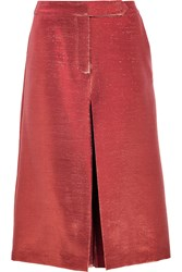 Vilshenko Maya Metallic Pleated Slub Crepe Skirt Orange