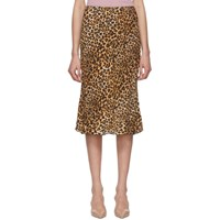 Nanushka Black And Beige Ocelot Zarina Skirt